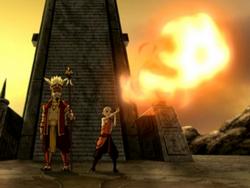 Aang firebends at the Sun Warriors' city.png