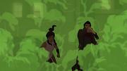 Mako and Korra caught in smoke
