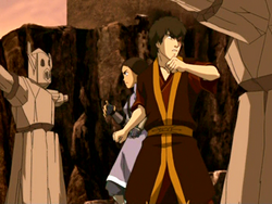 Zuko and Katara training
