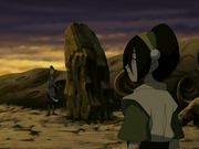 Toph nearly crushing Sokka