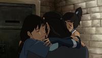 Korra and Senna hug Tonraq