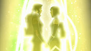Asami and Korra holding hands