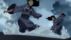 Desna and Eska attacking Korra
