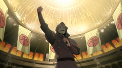 Amon speeching in the Arena