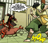 Toph attacking Kunyo