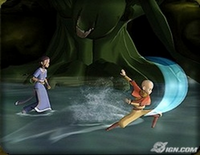 Katara and Aang fight swamp monster