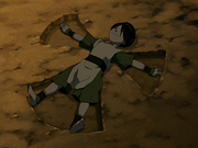 Toph makes a rock angel