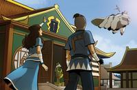 Katara and Sokka wave off Aang