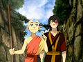 Aang and Zuko in the Sun Warrior city.png