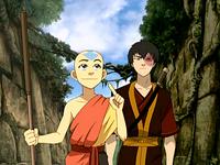 Aang and Zuko in the Sun Warrior city