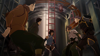 Bolin, Mako, Korra, Suyin, and Lin