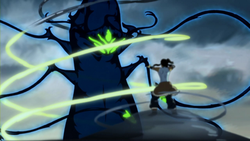 Korra trying to calm a dark spirit