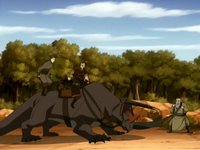 Mongke fighting Zuko and Iroh