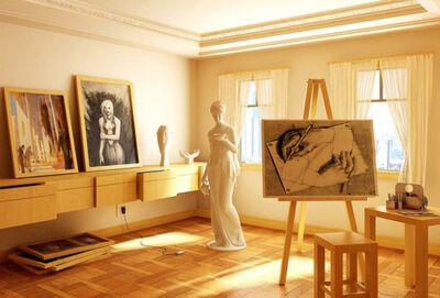 Artistic-Studio-Apartment-Ideas-For-Men-Laminate-Floor-Lady-Sculpture-915x619