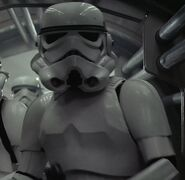 Unknown as Stormtrooper who Spots Leia