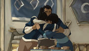 Korra and Senna snuggling Tonraq