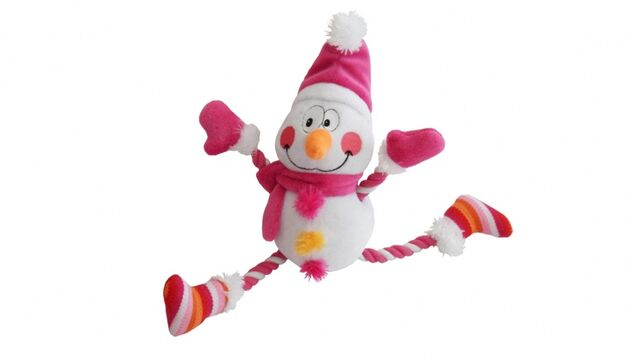 File:Dog and Co Pull My Leg Snowman Rope Dog Toy Pink.jpg