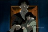 Roy Mustang While Carrying Selim to Safety in Original Anime