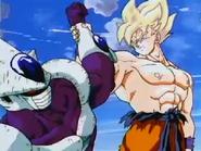 Super Saiyan Goku Grabs Cooler's Arm