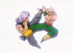 Trunks Fighting Tien in Bojack Unbound