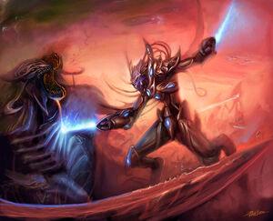Shu Y'lann'sai and Zan Ghoul battle