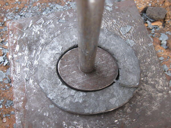 Forging field-frame rings around horizontal template - 07
