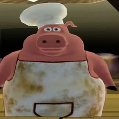 Pig dressed as a chef in <i>Barnyard: The Video Game</i>