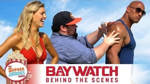 Super-Fan Oils Up THE ROCK on Set of The BAYWATCH Movie!
