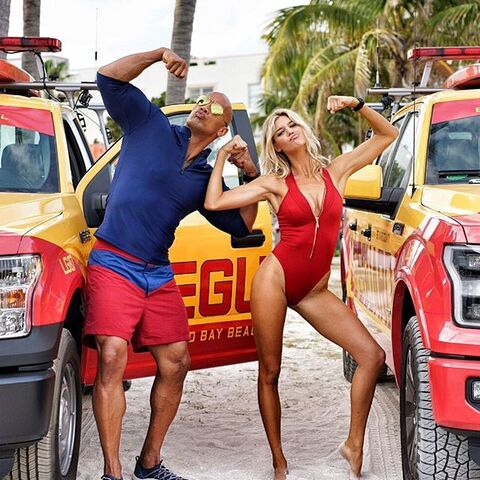 File:Dwayne Johnson onset with Kelly Rohrbach.jpg