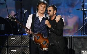 Paul McCartney and Ringo Starr perform during the taping of A GRAMMY Salute To The Beatles