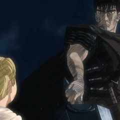 Farnese is assisted by Guts during her moment of panic.