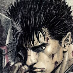 Guts holding the Dragonslayer.
