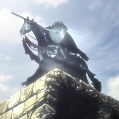 Atop the ruins of the Tower of Conviction, drawing his sword at the resurrected <a href=