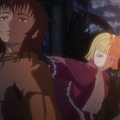 Farnese protecting Casca from evil spirits.