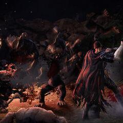 Guts clearing a troll horde in a gameplay screenshot.
