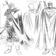Concept sketches of Guts as the Black Swordsman, shadowed with charcoal, for the 1997 anime.