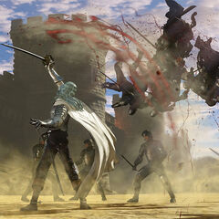 Griffith using his elegant sword to kill soldiers.