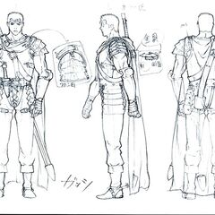 Front, side, and back view sketches of Guts wearing his Band of the Hawk armor for the Golden Age film trilogy.