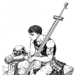 Guts sits alone with his armor, a new member of the Band of the Hawk.