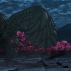 Mozgus stares down Guts in their final battle.