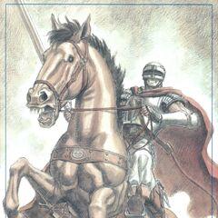 Guts' horse rears back in battle.