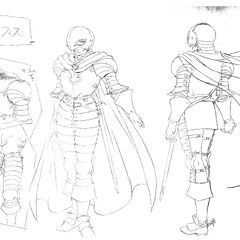 Full body sketches of Griffith's full set of armor as the leader of the Band of the Hawk for the 1997 anime.