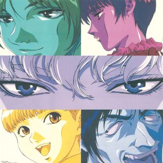 Stylized art of Judeau, Casca, Griffith, Rickert and Corkus for the 1997 anime.