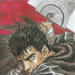 Guts ready to attack with the Dragonslayer.