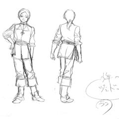 Front and back view sketches of a young Judeau for the 1997 anime.