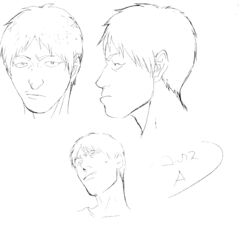 Profile drawings of a young Corkus from various angles for the 1997 anime.