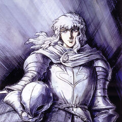Promotional art of Griffith in his armor as the leader of the <a href=
