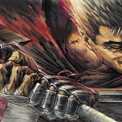 Promotional art of Guts swinging the Dragonslayer by background artist <a rel=