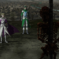 Farnese gazes upon a burnt corpse.