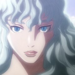 Griffith gazes upon his former ally and friend, Guts.